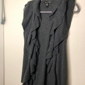 Grey Heather and Guage Ruffle Vest